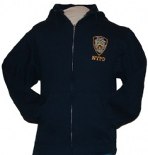 NYPD Embroidered Zipper Hooded sweat with back lettering - This NYPD zippered, h...