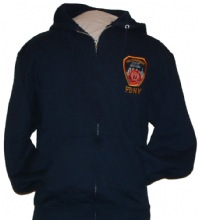 FDNY ZIPPER HOODED Embroidered Patch Outline  Sweatshirt - FDNY Full Zipper Hood...