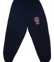 FDNY sweatpants - navy sweatpants with the FDNY logo embroidered on left leg
