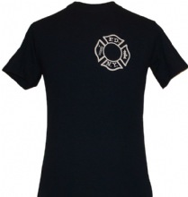 FDNY Maltese T-shirt With FDNY Open Letters on Back of The Tee - FDNY maltese cr...