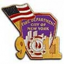 FDNY Patch & Flag 9/11 Lapel Pin - FDNY PATCH & FLAG 9/11 PIN