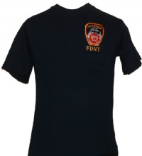 FDNY Embroidered T-Shirt - High-quality, navy FDNY embroidered T-Shirt features ...
