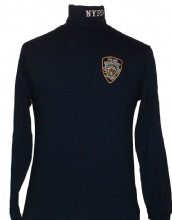 NYPD Turtleneck Shirt - Has the embroidered patch on the left chest and white NY...
