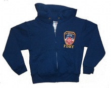 Fdny Children's  Embroidered ZIPPER HOODED SWEATSHIRT  Patch fdny Outline on...