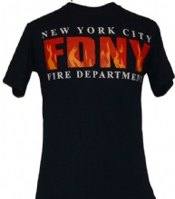 FDNY flame tee shirt with Keep Back Flames on the back - fdny flame on front wit...