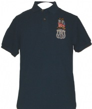 New York Police In Memory 9-11-01 Embroidered Golf Shirt - Twin Towers wrapped i...
