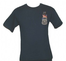 New York police in Memory Of 9-11-01 -Embroidered  T-Shirt - twin towers wrapped...