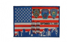9-11 Memorial American Flag Patch - American Flag with NYPD, FDNY and Port Autho...