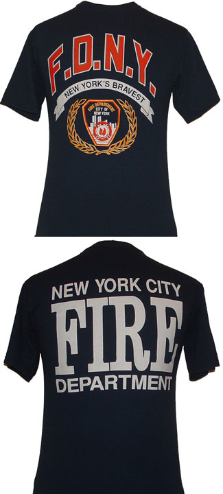 FDNY New York's Bravest Adult T-Shirt - FDNY - New York's Bravest  on the front and new york fire department on the back.