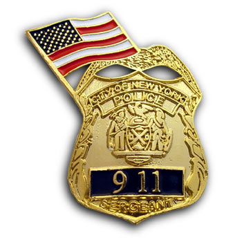 NYC  SERGEANT  9-11 Memorial Pin WITH FLAG - 9-11 MEMORIAL  Sergeant and Flag Lapel Pin