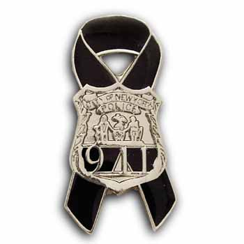 New York  PAPD 9-11 AWARENESS RIBBON  Memorial Pin - 9-11 MEMORIAL NYPD Awareness Shield & Ribbon Lapel Pin