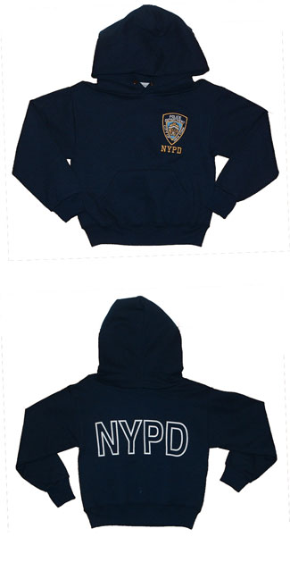 Nypd Children's  Hooded Sweatshirt - NYPD embroidered on left chest. Front pockets  and nypd on the back