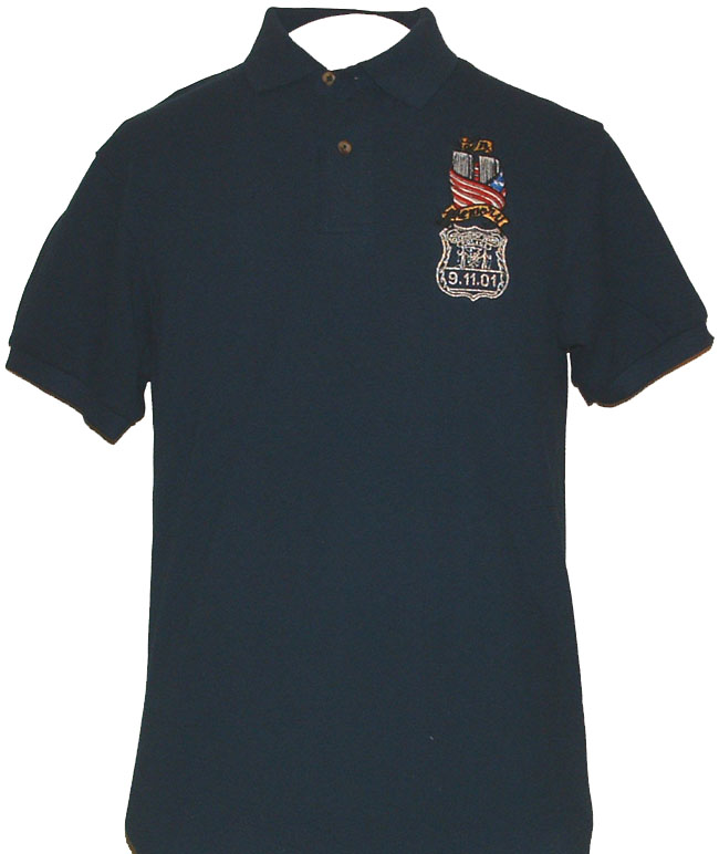 New York Police In Memory 9-11-01 Embroidered Golf Shirt - Twin Towers wrapped in American Flag.