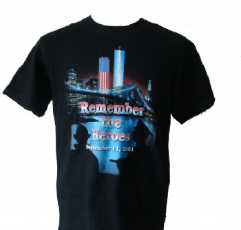 Remember the Heroes 9/11 Memorial t-shirt - The same Logo as the back of the jacket that President Bush Received from us.