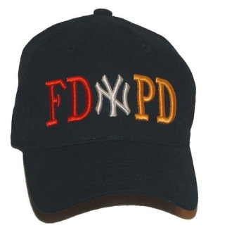 "FD PD NEW YORK  Emboidered Baseball Cap - This quality navy FD-PD NEW YORK Cap features the world famous New York  insignia embroidered in white letters in between ""FD"" embroidered in red and PD embroidered in gold."