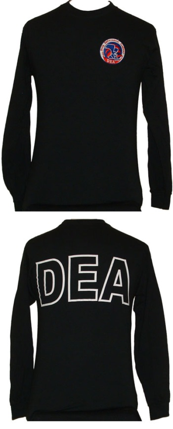 Drug Enforcement Agency (DEA) Long Sleeve Tee Shirt  -- Embroidered Patch -