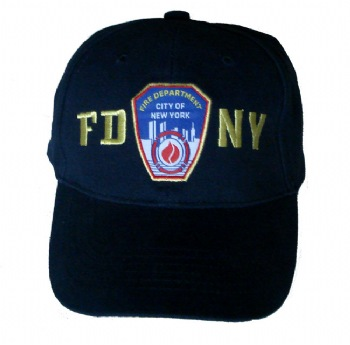 FDNY children embroidered cap - FDNY childrens cap with the shield and lettering embroidered on the front. New Yorks' Bravest embroidered on the back. Velcro closure