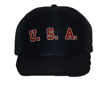 USA cap - U.S.A. trucker cap. Mesh sides, adjustable