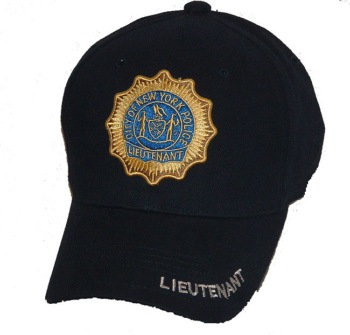 New York's Famous Lieutenant 3-D EMBROIDERD cap - New York's Lieutenant shield embroidered  on cap, with lettering on visor and on closure in back