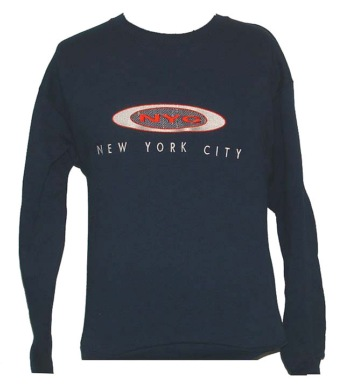 New York City EMBROIDERD sweatshirt - our exclusive design of New York City lettering on this sweatshirt