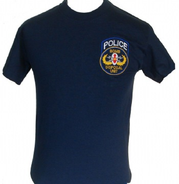 New York Police Bomb disposal unit t-shirt - Police Bomb disposal unit embroidered on left chest. printed back