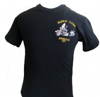 New York's Highway Patrol Motorcycle unit t-shirt - Highway Patrol Motorcycle unit embroidered in gold lettering on left chest with beautiful insignia. White lettering printed on back