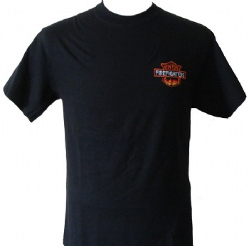 New York's  Firefighters t-shirt - New York Firefighters blazing in flames embroidered on left chest