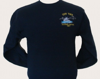 "New York's Police Harbor Patrol sweatshirt - New York's Police harbor logo embroidered on left chest. Printed back with white lettering ""New York Police Harbor patrol unit"""