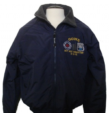 "Gone But Not forgotten Three seasons Jacket - This ""three seasons jacket"" is warm and comfortable. It features a nylon exterior with two zippered pockets. It also has two zippered interior pockets, and a banded hem. Our exclusive ""gone but not forgotten"" logo is embroidered on the left chest."