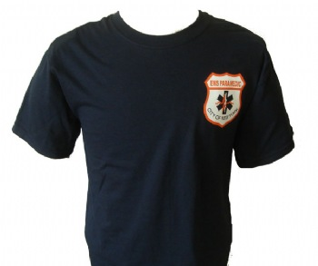 New York City Paramedic Ems t-shirt - EMS Paramedic shield on left chest. Open EMS lettering on back