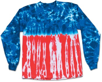 Old Glory LONG SLEEVE TEE SHIRT - LONG SLEEVE TYE DYE TEE SHIRT