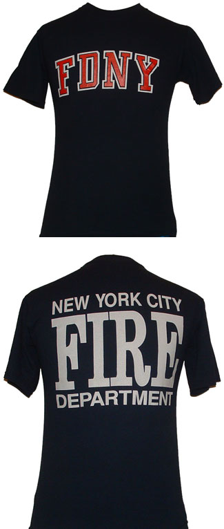 Fdny t shirt with new york city fire department on the for T shirt screen printing nyc