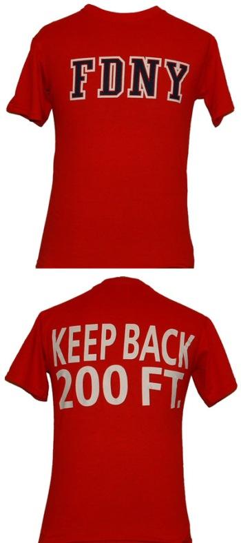 Official FDNY Short Sleeve Keep Back 200 Feet T-Shirt Red