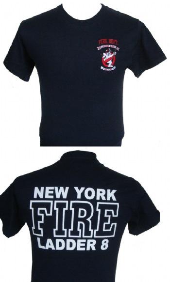 New York S Fire Dept Ladder 8 Ghostbuster T Shirt Nyfirepolice Com